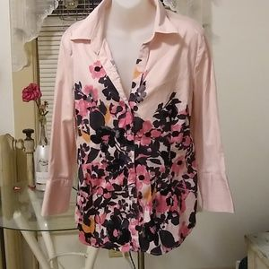 Pink floral button down